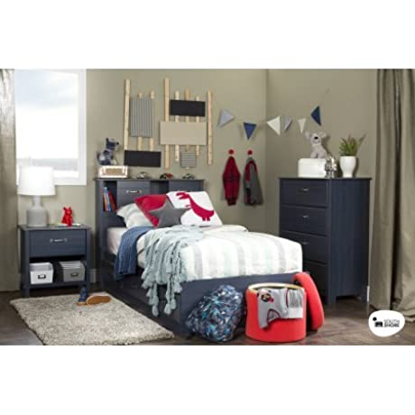 Twin Mates Bed With 3 Practical Drawers Bed With 3 Handy Storage Drawers In Blueberry Color Modern And Simple Design And Timeless Finish Bedding Bedroom Furniture BONUS E Book