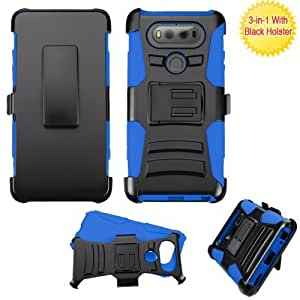LG V30 Case, LG V30 Plus Case, BornTech Heavy Duty Dual Layer Build in Kick stand with Belt Clip Holster Combo Rugged Phone Case Cover (Blue/Black)