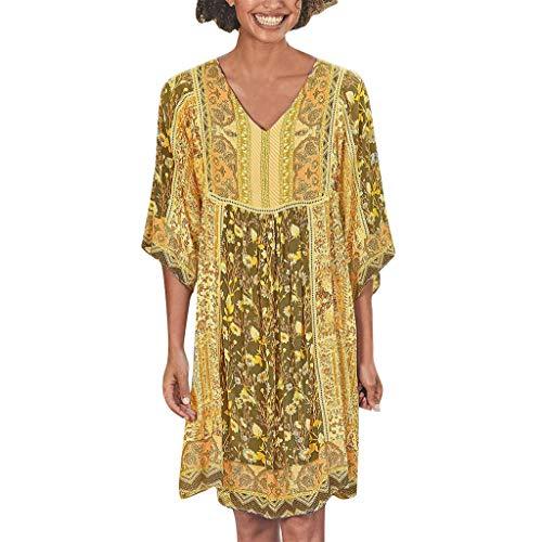 Haalife◕‿Summer Beach Dresses for Women Tshirt Sundresses Boho Casual Yellow