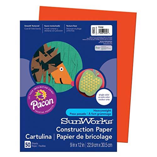SunWorks PAC6603BN Construction Paper, Orange, 9