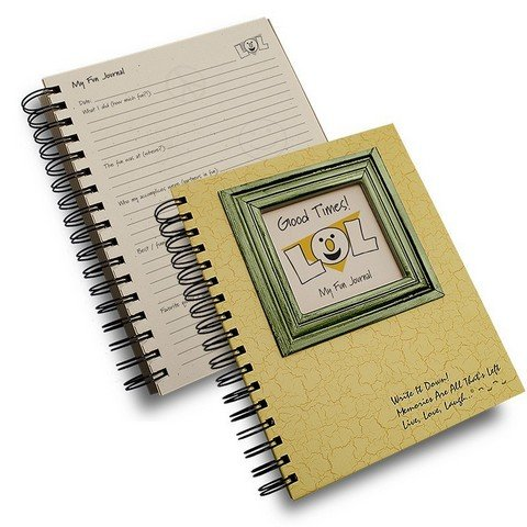 "Good Times!, My Fun Journal ""LOL"" - Yellow Hard Cover (prompts on every page, recycled paper, read more...)"