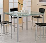 Modern Contemporary Frosted Glass Counter Height Dining Table