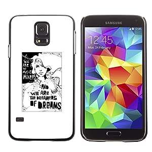 TopCaseStore / la caja del caucho duro de la cubierta de protección de la piel - Dreamer Deep Meaning Metaphor White - Samsung Galaxy S5 SM-G900