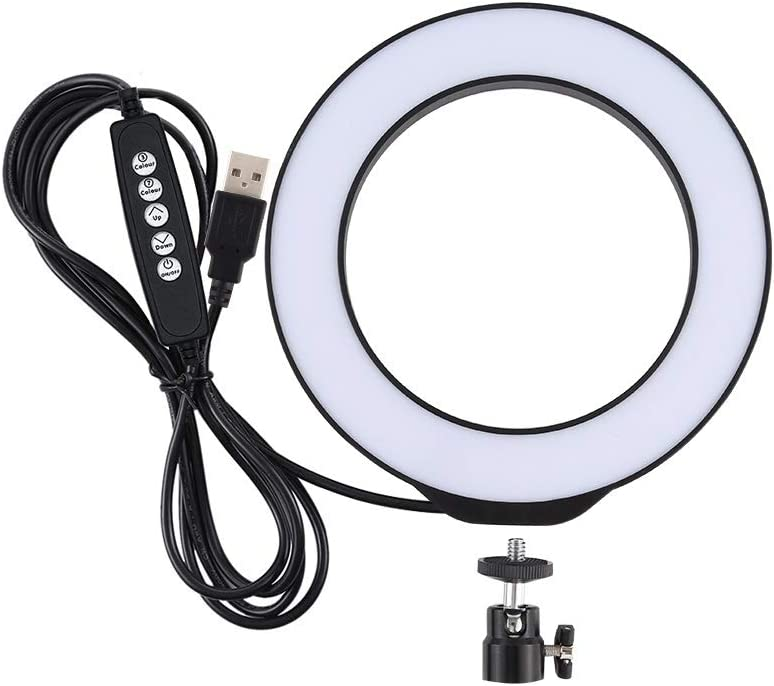 Durable Color : Black Black CAOMING 6.2 inch 16cm USB 10 Modes RGBW Dimmable LED Ring Vlogging Photography Video Lights with Cold Shoe Tripod Ball Head