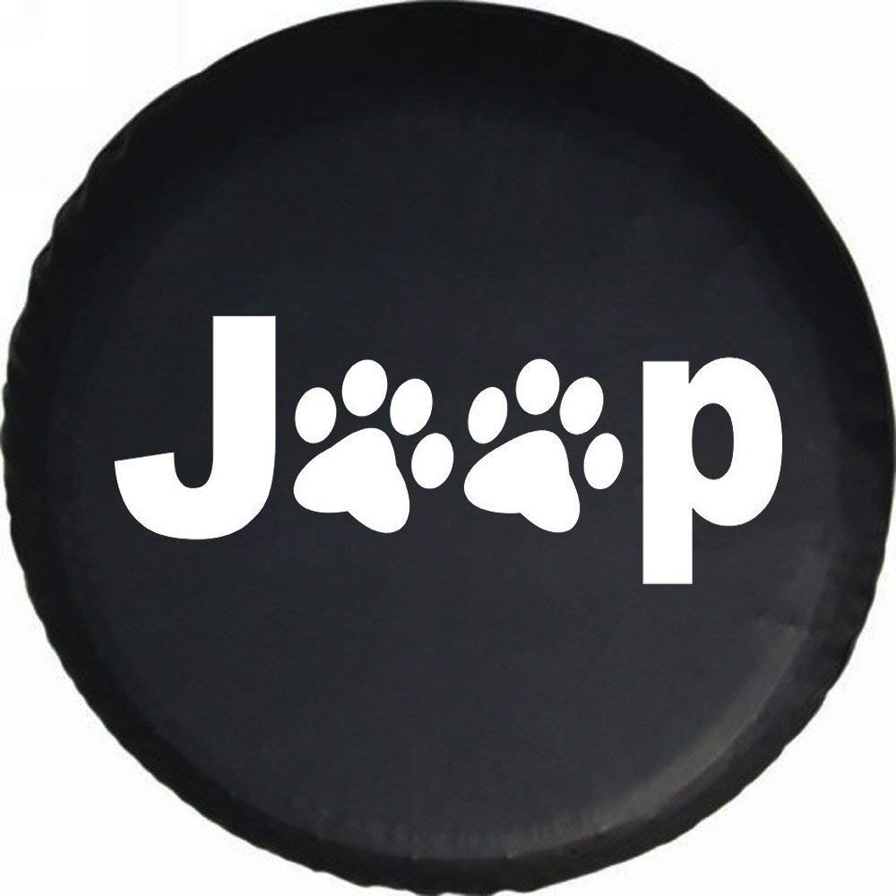 DKiigame 30''-31'' Spare Tire Cover,Wheel Protectors,Dog Cat Paw Print,Weatherproof Vinyl Leather,For Jeep Wrangler Sahara,Hummer H3,Toyota FJ