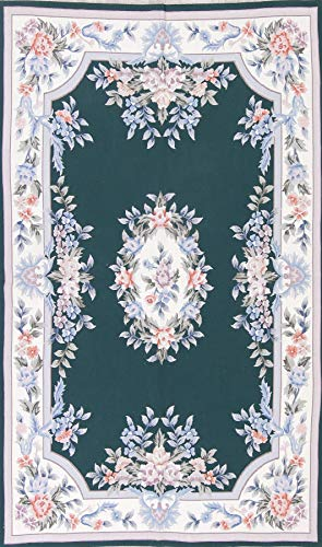 (Rug Source One-of-A-Kind New Aubusson Floral Transitional Hand-Woven 5x8 Green Wool Oriental Area Rug (7' 11