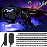 MINGER One-Line Car Interior Lights, 4pcs 48 LED RGB Multicolor Music Car LED Strip Light, Waterproof Underdash Lighting Kits with Sound Active Function and Simple Control, 12V Car Charger Included