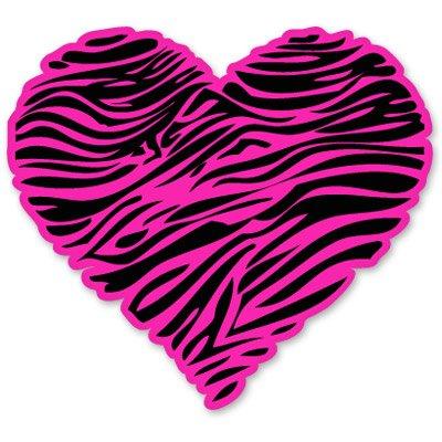 (Zebra Heart Pink Vinyl Sticker - Car Phone Helmet - SELECT SIZE)