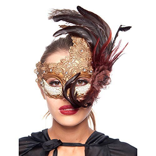 [Sexy Masquerade Ball Masks, Laser Cut Venetian Scary Masquerade Masks Bulk with Feathers - Gold] (Soft And Sexy Mask)