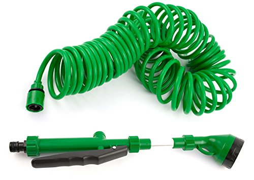 Indoor Watering Wand - Coiled Garden Hoses, Quick Connect, No Kinks, Extends To Fifty Feet, Five Nozzle Sprayer and USA Spigot Adapter