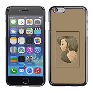 CASER CASES / Apple Iphone 6 / Brunette Portrait / Delgado Negro Plástico caso cubierta Shell Armor Funda Case Cover