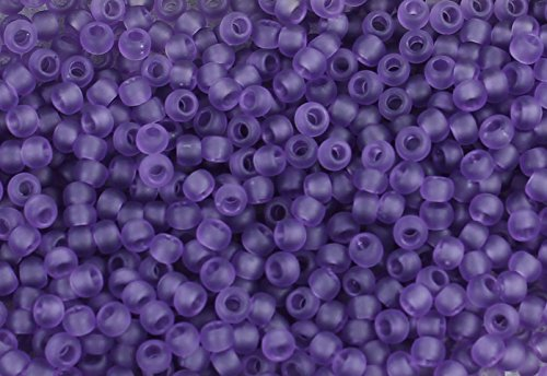 - 11/0 Round TOHO Japanese Glass Seed Beads #19F-Transparent-Frosted Sugar Plum 15g