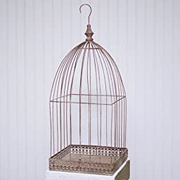 2 pack-Wire Bird Cage Wedding Card Holder, Removable Cloche, Distressed Brick Red