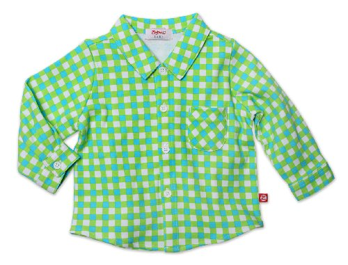 UPC 754155360730, Zutano Baby-Boys Infant Fair And Square Long Sleeve Button Shirt, Lime, 6 Months