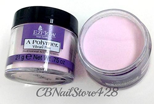 Ezflow -New- A Polymer- Acrylic Powder .75 oz/ 21g A Polymer - Vibrant Pink Powder