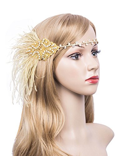 Kathyclassic Roaring Vintage Feather 20S Headpiece 1920S Flapper Headband for Womens (Gold-1)