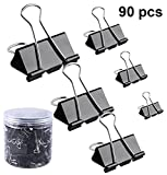 LaOficina Assorted Binder Clips 90 Pieces Paper Clamps Clip Set for School Office