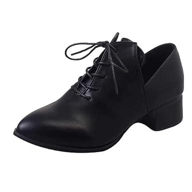 d8f25f8bdc1dfa Chaussures à Lacets pour Femmes, LuckyGirls Mode Nouveau Chaussure Talon  Femme Bottine Western Sexy Hiver