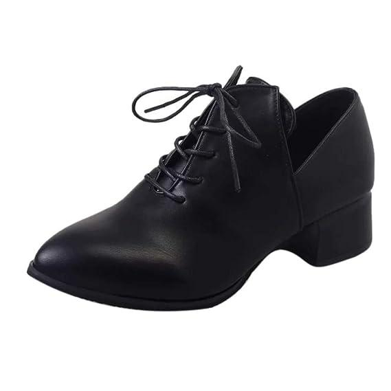 Zapatos de Mujer, ASHOP Casual Planos Loafers Mocasines de Puntera otoño Invierno Tacón Grueso británico