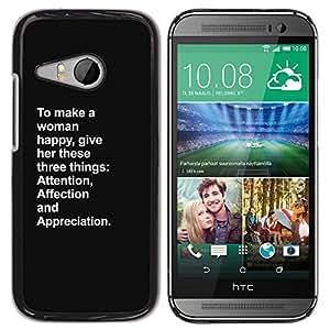 Plastic Shell Protective Case Cover || HTC ONE MINI 2 / M8 MINI || Woman Inspiring Love @XPTECH
