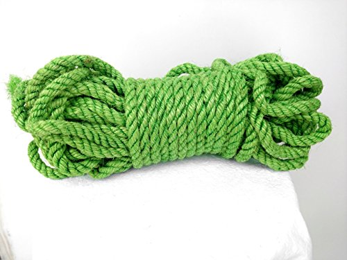 25' (7 5 m) Green Sisal Rope, Dyed Bright Green Color, 1/4