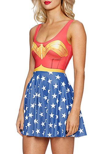 WW5 Wonder Woman One Piece Adult Teen Sleeveless Dress Costume Halloween