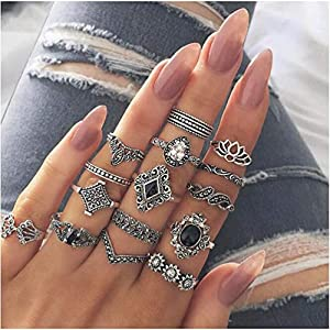 Bracet 10 Pcs Vintage Flower Knuckle Ring Set Bohemian Retro Black Rhinestone Joint Knuckle Nail Midi Ring Finger Rings Set