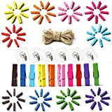 Angela&Alex Colored Wooden Clips, 100 PCS Mini Clothespins Photo Clips Natural Wooden Peg Pin with 10 Meter Jute Twines 6 PCS Wall Hook