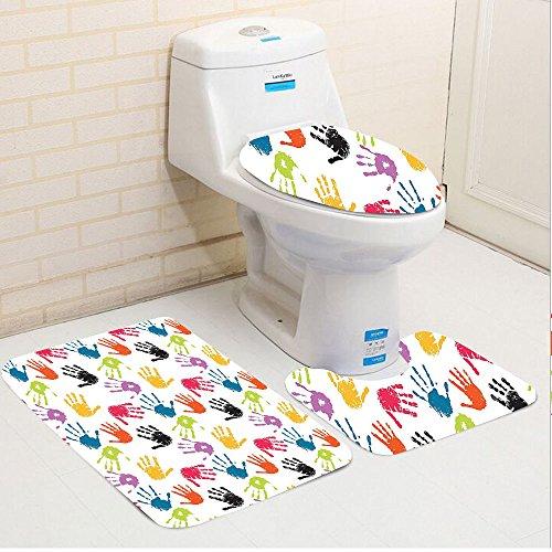 Keshia Dwete three-piece toilet seat pad customHome Colorful Children Hand Print Cute Teamwork Painting Kids Fun Games Illustration Print Red Teal Yellow