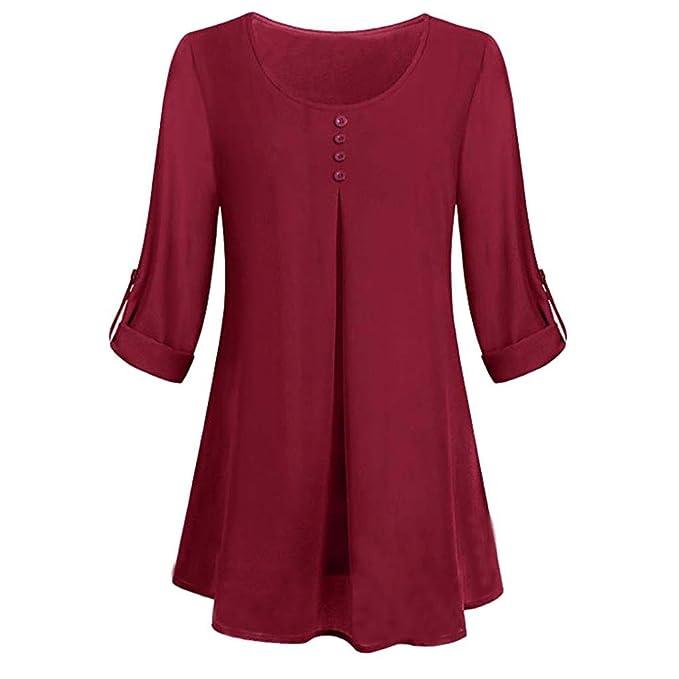 Camiseta Manga Larga enrollada Mujer,Camiseta de botón Floja Ocasional de la Blusa