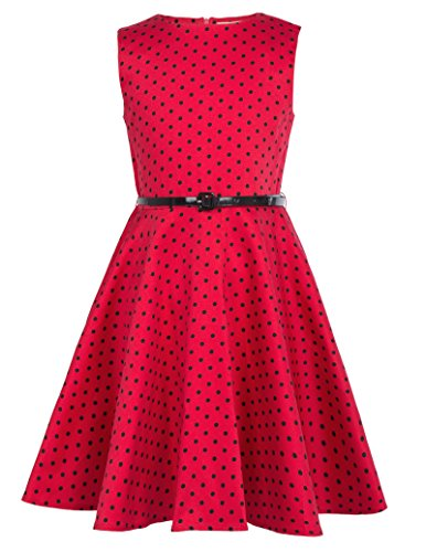 Kate Kasin Girls Vintage Dress 1950's Retro Sleeveless Polka Dot Dress with Belt