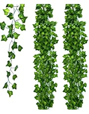 131 FT/20 Strands Artificial Ivy Garland Fake Leaf Plants, Ohuhu Greenery Garland Vines Hanging for Wedding Party Office Garden Baby Shower Home Wall Decor, 79 Inch Each, Green, Father's Day Decoration