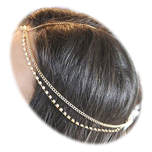Zealmer Girls Head Chain Jewelry Rhinestone Headbands Crossover Headpiece Jewelry Hair Band Tassels]()