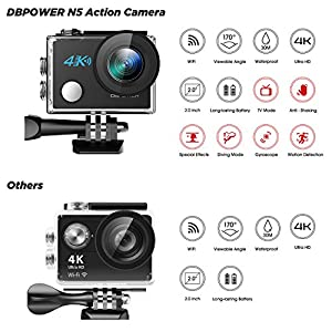 DBPOWER N5 4K Action Camera, 5X Zoom HD action cam 20MP Sony Sensor Sports Camera, EIS Wi-Fi 98FT Underwater Camera with 170° Wide-Angle Lens Including 2 Rechargeable Batteries and 17 Accessories Kit from DBPOWER
