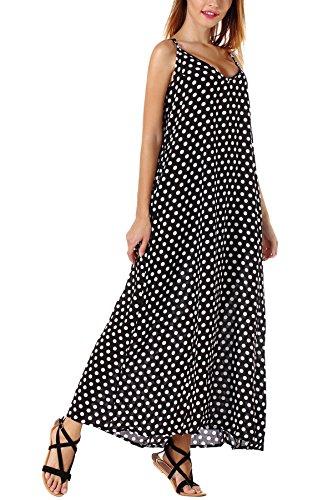 Casual Maxi Prints Dress DODOING Polk Spaghetti Dresses Women Beach Black Dot Boho Ethnic Strap Long gZxwqA5