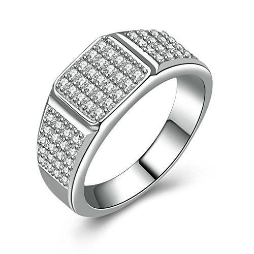 AmDxD Jewelry Silver Plated Men Promise Customizable Rings 3 Surface Square CZ Size 12