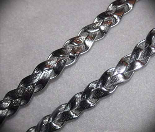 5 Yards Metallic Silver Braid Braided Pleather