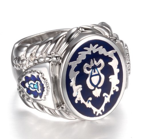 (Platinum Plated World of Warcraft Alliance Ring,Men's Ring,World of Warcraft Ring Jewelry for WOW Fans US Size)