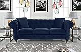 Divano Roma Furniture Classic Velvet Scroll Arm Tufted Button Chesterfield Sofa (Blue)