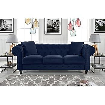 Amazon.com: Divano Roma Furniture Velvet Scroll Arm Tufted
