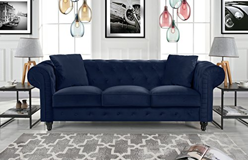 Divano Roma Furniture Classic Velvet Scroll Arm Tufted Button Chesterfield Sofa ()