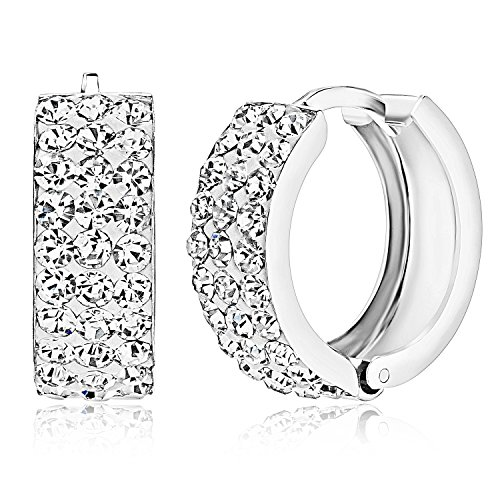 925 Genuine Sterling Silver Crystal Drop Dangle Hoop Earrings - Women Girls Hinged Huggie Hoop ()