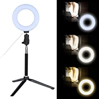 6-calowa ściemnialna lampa pierścieniowa LED ze stojakiem na statyw do nagrywania wideo makijażu na żywo, lampka…