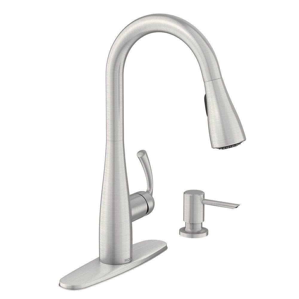 MOEN 87014SRS Essie Single-handle Pull-down Sprayer Kitchen Faucet In Spot Resist Stainless With Soap Dispenser