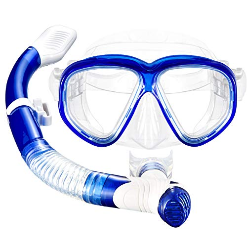 Diving Gear Aqualung - Mpow Snorkel Mask, Scuba Diving Mask for Snorkeling Diving Swimming, Easy Breath Scuba Snorkeling Gear with Silicon Mouth Piece and Easy Adjustable Strap (Blue)