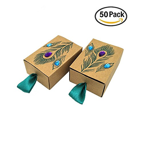 VNFEI Peacock Candy Boxes Wedding Favors Kraft Paper Gift Boxes Decoration (50)