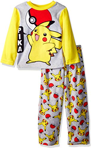 Pokemon Boys' Big Pikachu 2-Piece Fleece Pajama Set, Gotcha' Gray, 10 -