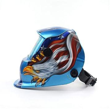 Casco soldador Blue Eagle Design Solar Powered Helmet Casco Oscurecimiento automático Capucha profesional con lente ancha Rango de sombra ajustable DIN 4 ...