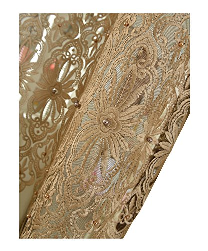 Aside Bside Luxurious Sheer Curtains Rod Pocket Voile Window Treatments Embroidered Bead Decoration Style for Living Room & Bedroom(1 Panel, W 50 x L 84 inch, Brown) -1280808C1FFFBNX5084-8510