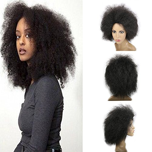 Afro Kinky Curly Hair Short Wigs for Women African American Wigs 100g/pcsCurly Afro Wig Fluffy Wigs for Beauty Women (Dark Black(1B#)) by ruileibest